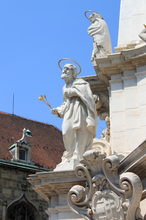 Saint statue in the Holy Trinity column in front of Matthias Church  Budapest, Hungary photo