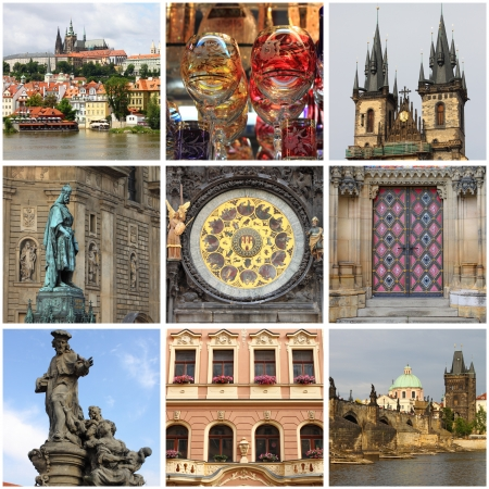 Collage of landmarks of Prague, Czech Republic