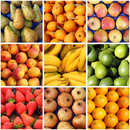 Collage of fresh fruits backgrounds photo