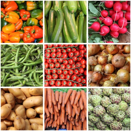 Collage of fresh vegetables backgrounds photo