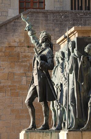 defenders: Monument to Girolamo Gozi and defenders of freedom in San Marino, Italy