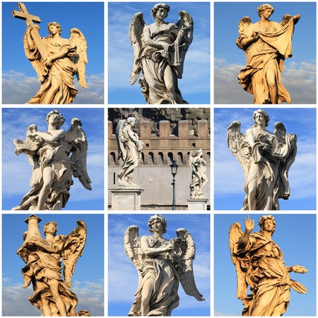 Collage of Angel statues from Saint Angel bridge of Rome, Italy photo