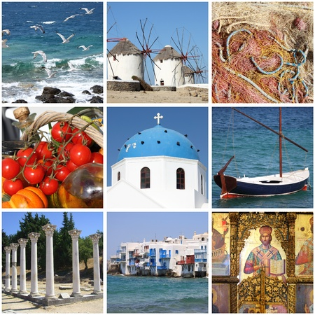 Collage of landmarks of Greece photo