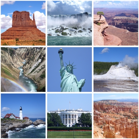 Collage of landmarks of USA photo