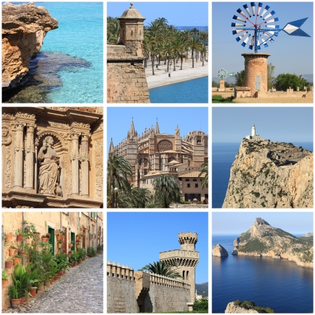 Collage of landmarks of Mallorca Island, Spain