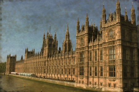 Vintage image of the Houses of Parliament in London, UK photo