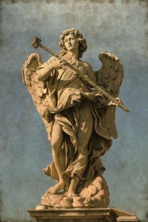 Vintage image of an Angel statue in Saint Angel bridge  Rome, Italy