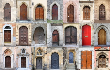 Collage of medieval front doors photo