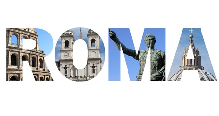 sain: Rome text written with pictures of landmarks
