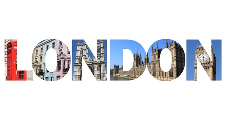 London text written with pictures of landmarks photo
