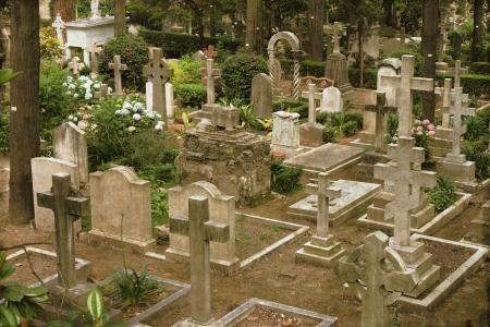 burying: Vintage image of a burying ground Stock Photo