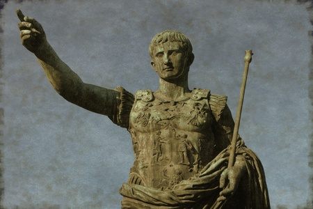 despotism: Vintage image of the Roman emperor Augustus, symbol of power