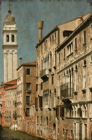 Vintage image of an urban scene of Venice, Italy photo