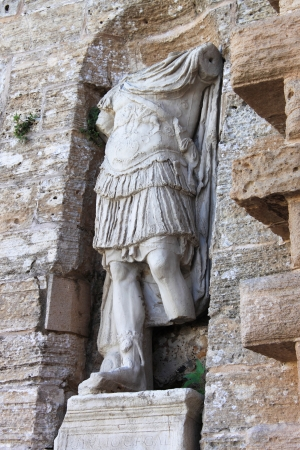 Roman statue at the entrance of Dalt Vila in Ibiza town, Spain
