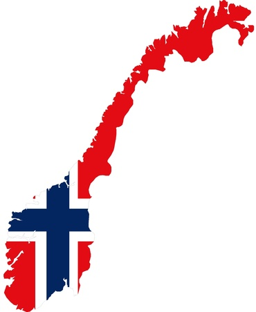 Map of Norway with official flag colors photo