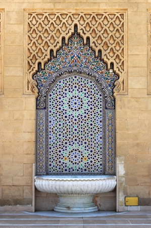 Moroccan fountain with mosaic tiles in Rabat, Morocco