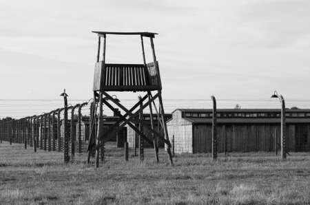 birkenau: Oswiecim, Poland - July 23, 2011: Sentry box at Auschwitz Birkenau concentration camp