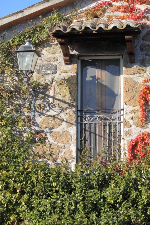 Viterbo, Italy - December 27, 2011: Old style balcony in a rural house