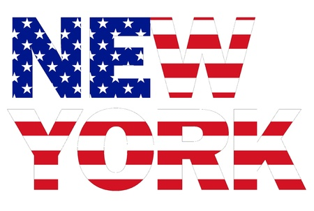 New York text written with USA flag photo
