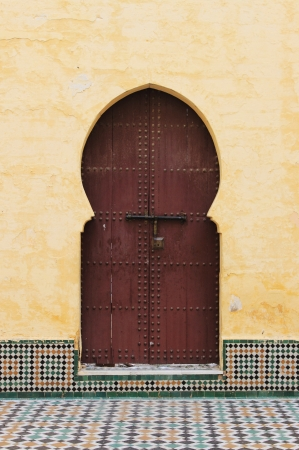 Arabic oriental styled door in Meknes, Morocco