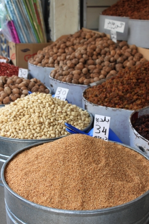 Dried fruits and legumes at a market stall in Morocco Stock Photo - 20014455
