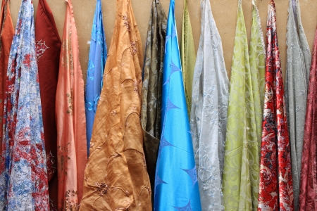 Curtains for sale in a shop photo