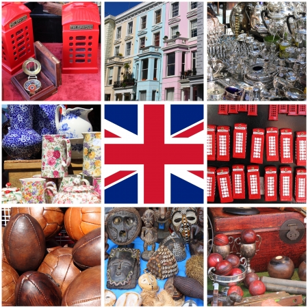 Collage of images of Portobello Road Market  London, UK Stock Photo