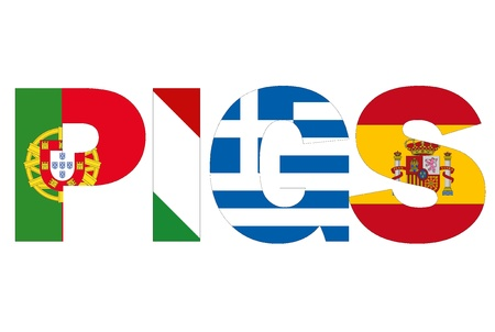 PIGS, 포르투갈, 이탈리아, 그리스, 스페인, 최악의 위기와 유로 지역의 국가 스톡 콘텐츠 - 20043440