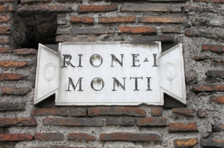 monti: Old district plate in the downtown of Rome, Italy Stock Photo