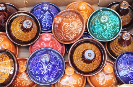 Colorful Tajines for sale in a market stall Stock Photo - 20452843
