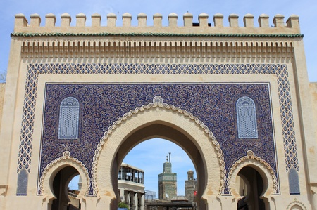 bab: Bab Bou Jeloud gate  The Blue Gate  in Fez, Morocco