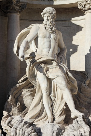ancient greek: Oceanus in the Trevi Fountain of Rome, Italy