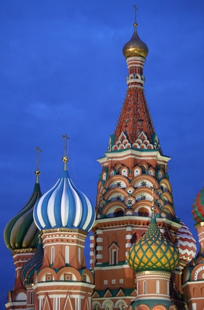St  Basil Cathedral by night in Moscow, Russia photo
