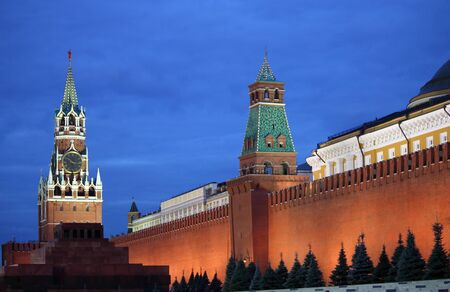 Moscow Kremlin at Red Square of Moscow by night photo