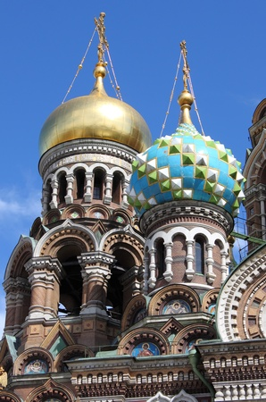 gilding: Domes of the Church of the Saviour on Spilled Blood in Saint Petersburg, Russia Stock Photo