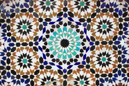 Typical mosaic pattern of a moroccan fountain photo