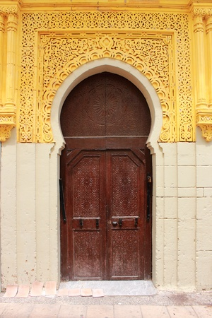 view of a wooden doorway: Arabic oriental styled door in Rabat, Morocco Stock Photo