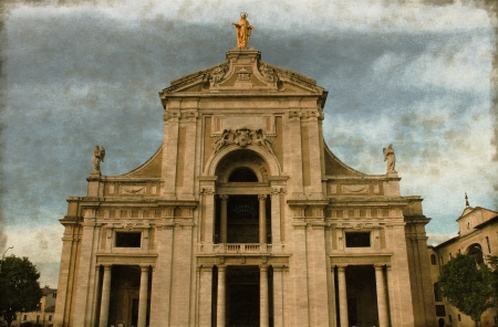 saint mary: Vintage image of St  Mary of Angels Basilica in Assisi, Italy