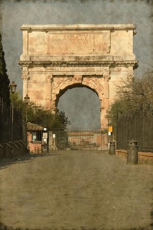 spqr: Imagen del vintage del Arco de Tito en Roma, Italia
