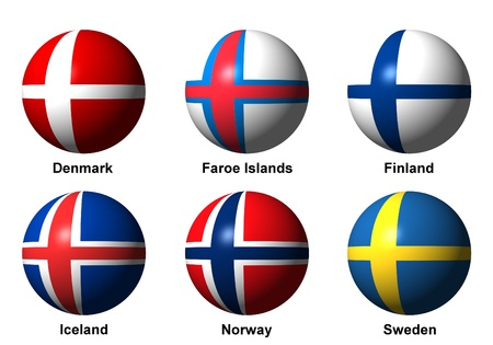 Collage of Scandinavian flags with english labels photo