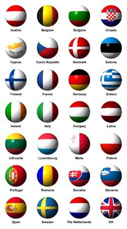 英語のラベルと欧州連合のフラグのコラージュ
