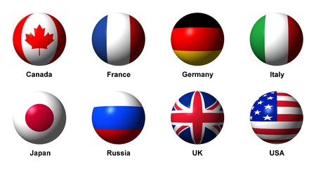 Collage of flags of the G8 countries with english labels photo