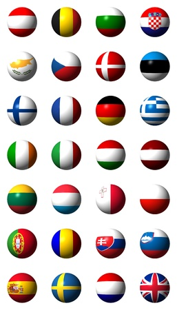Collage of flags of the European Union without labels photo