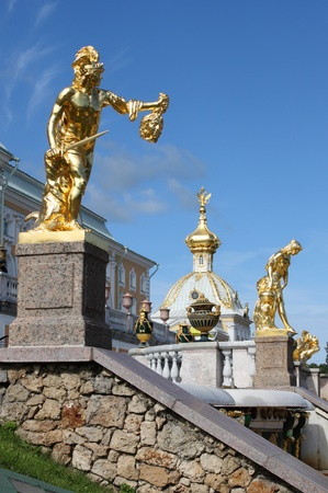 Grand cascade fountains at Peterhof Palace in St  Petersburg, Russia