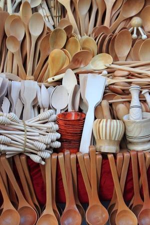 Assorted different kitchen wooden utensils photo