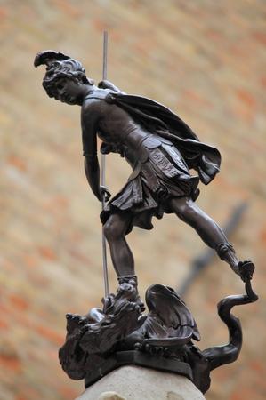 Bronze statue of St  Crescentino in Urbino, Italy photo