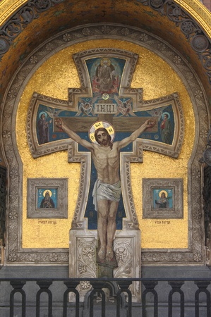 Mosaic with the Crucifixion of Jesus in the Church of the Saviour on Spilled Blood in Saint Petersburg, Russia photo
