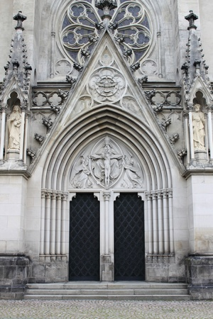olomouc: Facade of St  Wenceslas Cathedral in Olomouc, Czech Republic