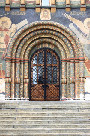 Entrance door of the Dormition Cathedral in Moscow Kremlin, Russia