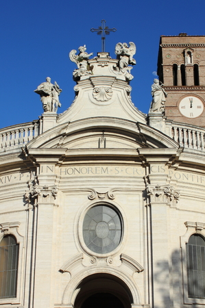 Facade of Holy Cross in Jerusalem Basilica in Rome, Italy photo